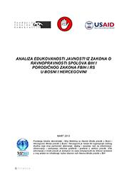 Analiza edukovanosti javnosti iz zakona o ravnopravnosti spolova BiH i Porodičnog zakona FBiH i RS